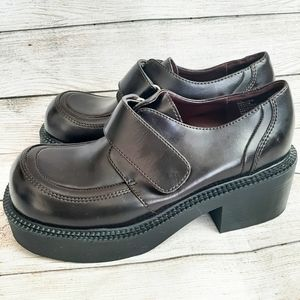 REAL Y2K 90s Leather Chunky Heel shoes square toe